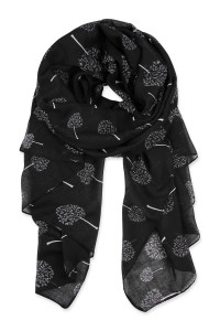 SA4-3-5-AHDF2431BK BLACK SMALL TREES PRINTED SCARF/6PCS