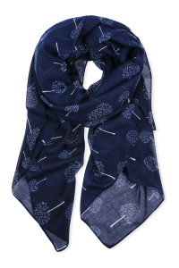 SA4-3-5-AHDF2431NV NAVY SMALL TREES PRINTED SCARF/6PCS