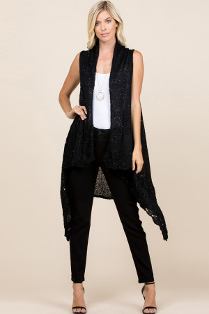 S1-7-5-AHDF2497BK BLACK KNITTED OPEN FRONT CARDIGAN/6PCS