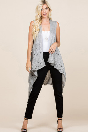 S1-6-5-AHDF2497GY GRAY KNITTED OPEN FRONT CARDIGAN/6PCS