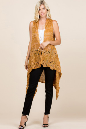 S1-6-5-AHDF2497MU MUSTARD KNITTED OPEN FRONT CARDIGAN/6PCS