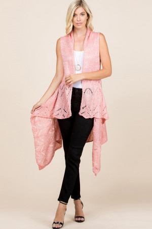 S1-7-5-AHDF2497PK PINK KNITTED OPEN FRONT CARDIGAN/6PCS