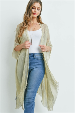 S1-7-5-AHDF2498BG BEIGE GLITTERED FRINGED OPEN CARDIGAN/6PCS