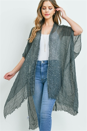 S1-6-5-AHDF2498BK DARK GRAY GLITTERED FRINGED OPEN CARDIGAN/6PCS