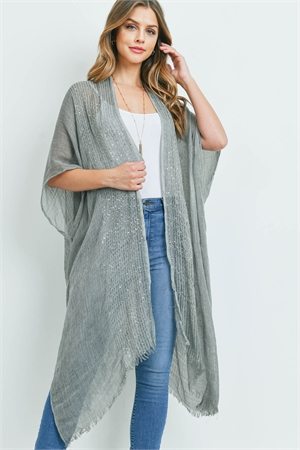 S1-6-5-AHDF2498GY GRAY GLITTERED FRINGED OPEN CARDIGAN/6PCS