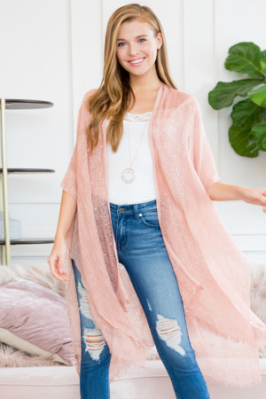 S1-6-5-AHDF2498PK PINK GLITTERED FRINGED OPEN CARDIGAN/6PCS