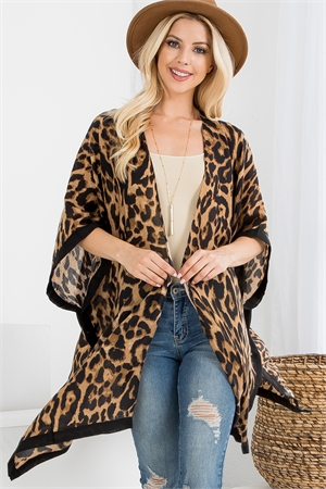 S21-3-1-HDF2503BR BROWN LEOPARD OPEN FRONT CARDIGAN/6PCS
