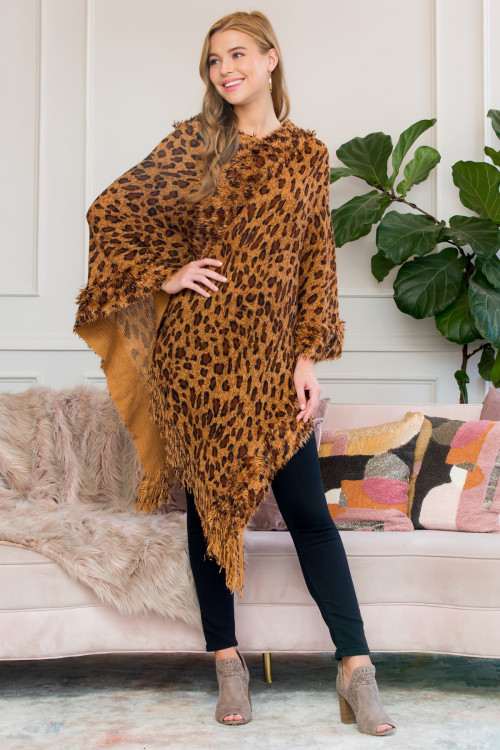 S1-1-6-AHDF2514LEO BROWN FRINGED LEOPARD PONCHO/6PCS