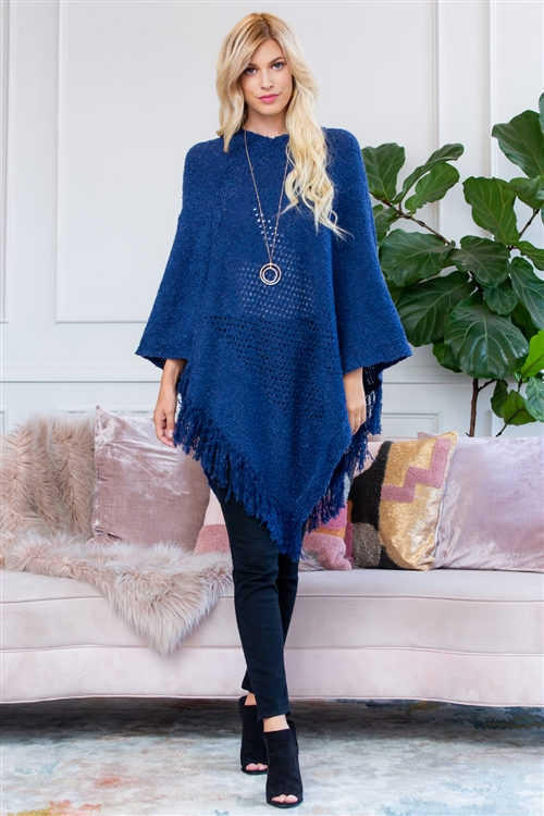 S1-3-5-AHDF2520NV NAVY SOFT KNIT FRINGE PONCHO/6PCS