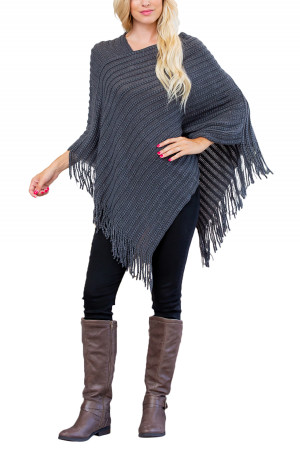 S1-5-2-AHDF2542DGY DARK GRAY KNITTED V PONCHO/6PCS