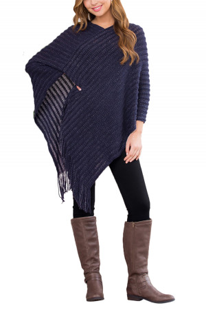 S1-7-5-AHDF2542NV NAVY KNITTED V PONCHO/6PCS