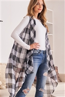 A3-2-1-AHDF2567BK BLACK PLAID KNEE LENGTH CARDIGAN/6PCS