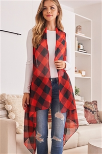 A3-2-1-AHDF2567RD RED PLAID KNEE LENGTH CARDIGAN/6PCS