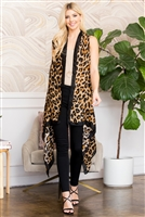 S3-6-2-AHDF2654BR BROWN LEOPARD SKIN PRINTED OPEN FRONT CARDIGANS/6PCS