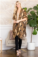 S3-6-5-AHDF2656BR BROWN SNAKE SKIN PRINT KNEE LENGTH OPEN FRONT KIMONO/6PCS