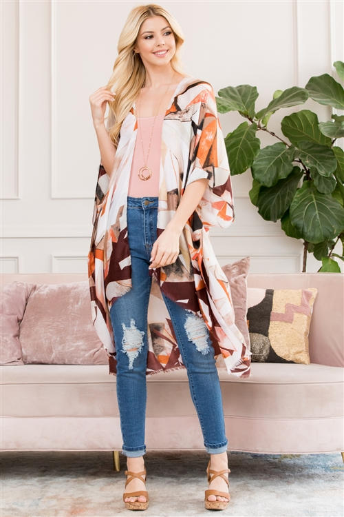 S17-2-1-HDF2661BR BROWN ABSTRACT PRINT KIMONO/6PCS