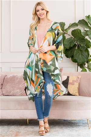 S17-3-1-HDF2661GR GREEN ABSTRACT PRINT KIMONO/6PCS
