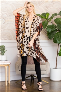 S3-6-2-AHDF2662OR ORANGE LEOPARD PRINT DESIGN KIMONO/6PCS