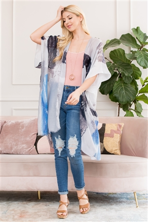 S3-6-2-AHDF2673BL BLUE LIGHT DISTRESSED PAINT OPEN FRONT KIMONO/6PCS