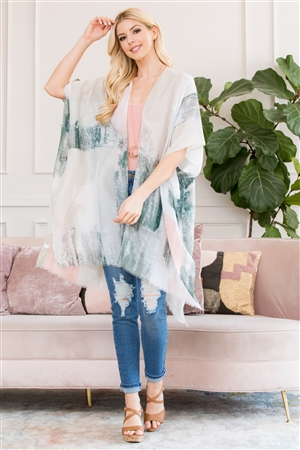 S3-6-2-AHDF2673GR GREEN LIGHT DISTRESSED PAINT OPEN FRONT KIMONO/6PCS