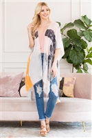 S3-6-1-AHDF2673OR ORANGE LIGHT DISTRESSED PAINT OPEN FRONT KIMONO/6PCS