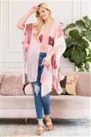 S3-6-1-AHDF2673PK PINK LIGHT DISTRESSED PAINT OPEN FRONT KIMONO/6PCS