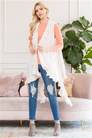 S3-5-3-AHDF2674BG BEIGE OPEN RUFFLED SLEEVELESS CARDIGANS/6PCS