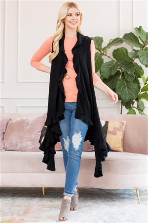 S3-5-3-AHDF2674BK BLACK OPEN RUFFLED SLEEVELESS CARDIGANS/6PCS