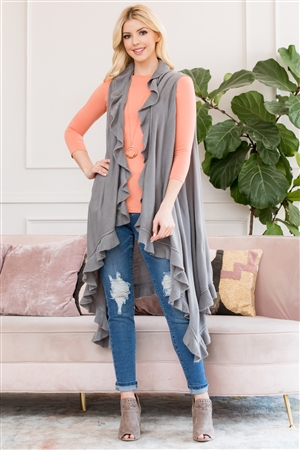 S3-5-3-AHDF2674LGY LIGHT GRAY OPEN RUFFLED SLEEVELESS CARDIGANS/6PCS