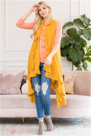 S3-5-5-AHDF2674MU MUSTARD OPEN RUFFLED SLEEVELESS CARDIGANS/6PCS