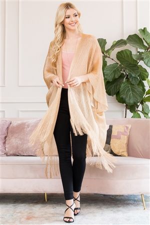S3-6-4-AHDF2700G GOLD METALLIC COLORED TASSEL BEACH KIMONO/6PCS