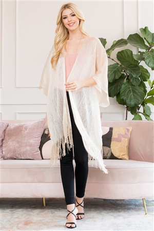 S3-6-4-AHDF2700IV IVORY METALLIC COLORED TASSEL BEACH KIMONO/6PCS