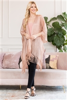 S3-6-4-AHDF2700RS ROSE GOLD METALLIC COLORED TASSEL BEACH KIMONO/6PCS