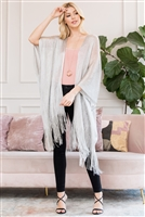 S3-6-4-AHDF2700S SILVER METALLIC COLORED TASSEL BEACH KIMONO/6PCS