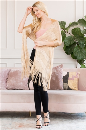 S3-6-5-AHDF2701G GOLD METALLIC COLORED FRINGE SCARF/6PCS