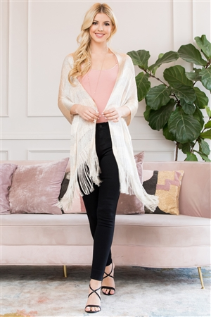 S3-6-5-AHDF2701IV IVORY METALLIC COLORED FRINGE SCARF/6PCS