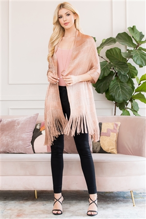 S3-6-5-AHDF2701RS RUST METALLIC COLORED FRINGE SCARF/6PCS