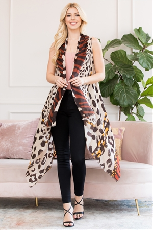 S3-6-1-AHDF2760OR ORANGE LEOPARD PRINTED KIMONO/6PCS
