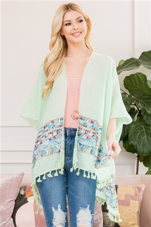 S3-6-4-AHDF2763MN MINT CHEVRON PRINTED BEACH OPEN FRONT KIMONO/6PCS