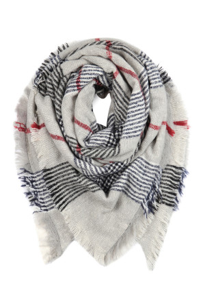 S2-7-5-AHDF2914-1 GRAY BLACK MULTI COLOR BLANKET FRINGED SCARF/6PCS