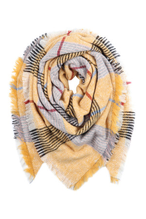 S2-7-4-AHDF2914-2 MUSTARD GRAY MULTI COLOR BLANKET FRINGED SCARF/6PCS