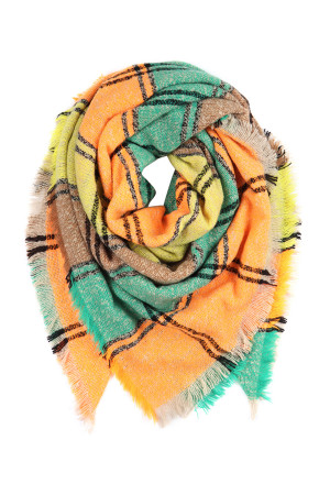 S2-9-4-AHDF2916-1 ORANGE YELLOW BROWN MULTI COLOR BLANKET FRINGED SCARF/6PCS