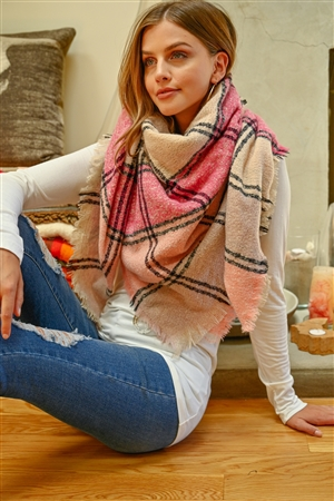 S2-10-4-AHDF2916-6 PINK MULTI COLOR BLANKET FRINGED SCARF/6PCS