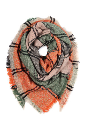 S2-10-4-AHDF2916-7 ORANGE GREEN GRAY MULTI COLOR BLANKET FRINGED SCARF/6PCS
