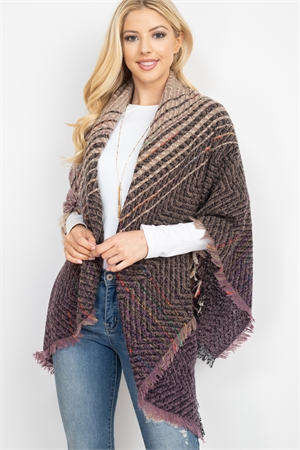 S2-7-4-AHDF2917-4 BROWN LAVENDER TWO TONE BLANKET FRINGED SCARF/6PCS