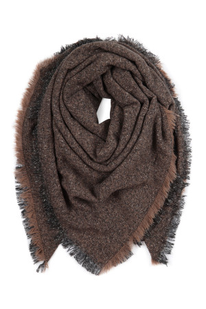 S2-8-5-AHDF2918-7 BROWN BLANKET FRINGED SCARF/6PCS