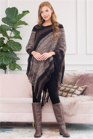 S1-7-1-AHDF3000BR BROWN ULTRA SOFT MULTI TONE FRINGE PONCHO/6PCS