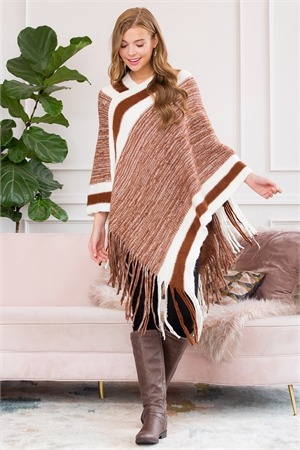 S1-6-3-AHDF3000LBR LIGHT BROWN ULTRA SOFT MULTI TONE FRINGE PONCHO/6PCS