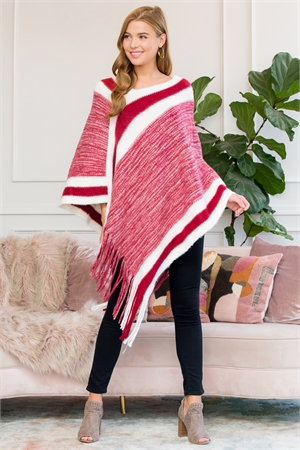 S1-7-4-AHDF3000RD RED ULTRA SOFT MULTI TONE FRINGE PONCHO/6PCS