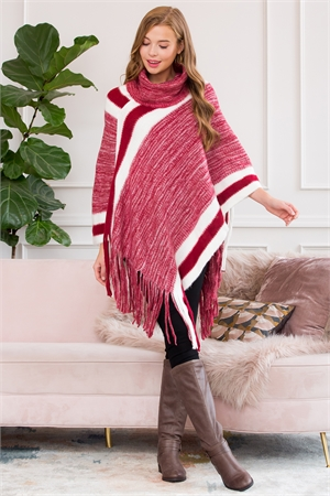 S1-4-2-AHDF3001RD RED ULTRA SOFT TONE TURTLE NECK FRINGE PONCHO/6PCS
